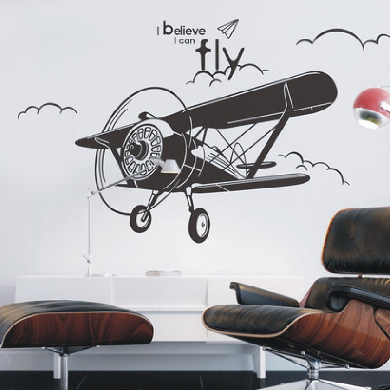 Free shiping The fighter plane personality fashion wall stickers bedroom of children room sitting