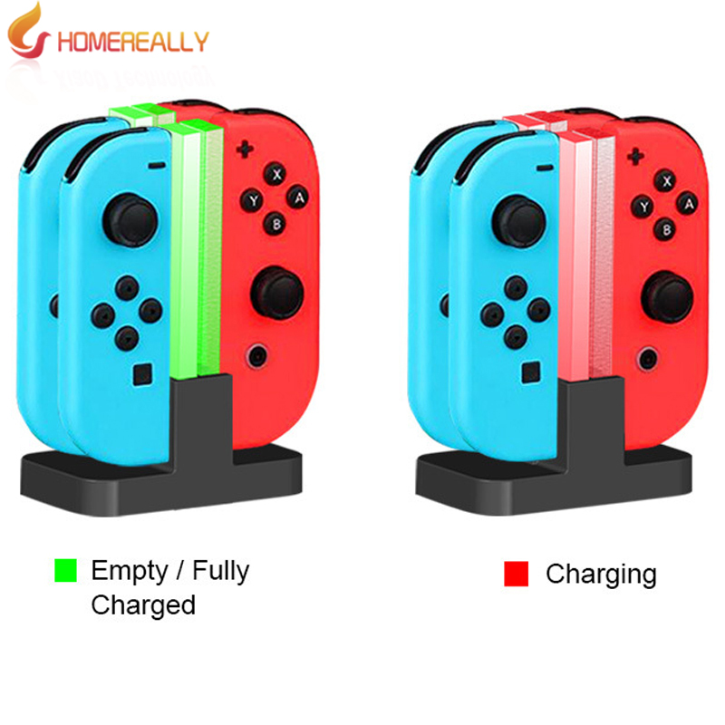 HOMEREALLY Colorful light For Nintendo Switch Charging Dock 4 in 1 Charging Standtion For Nintendo Switch