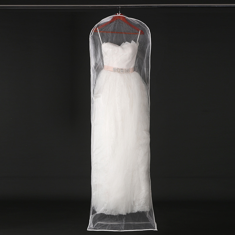 Transparent Mesh Yarn Wedding Dress Dust Cover With Zipper Bride Gown Storage Bag Garment Clothing Case 155cm 180cm JD005