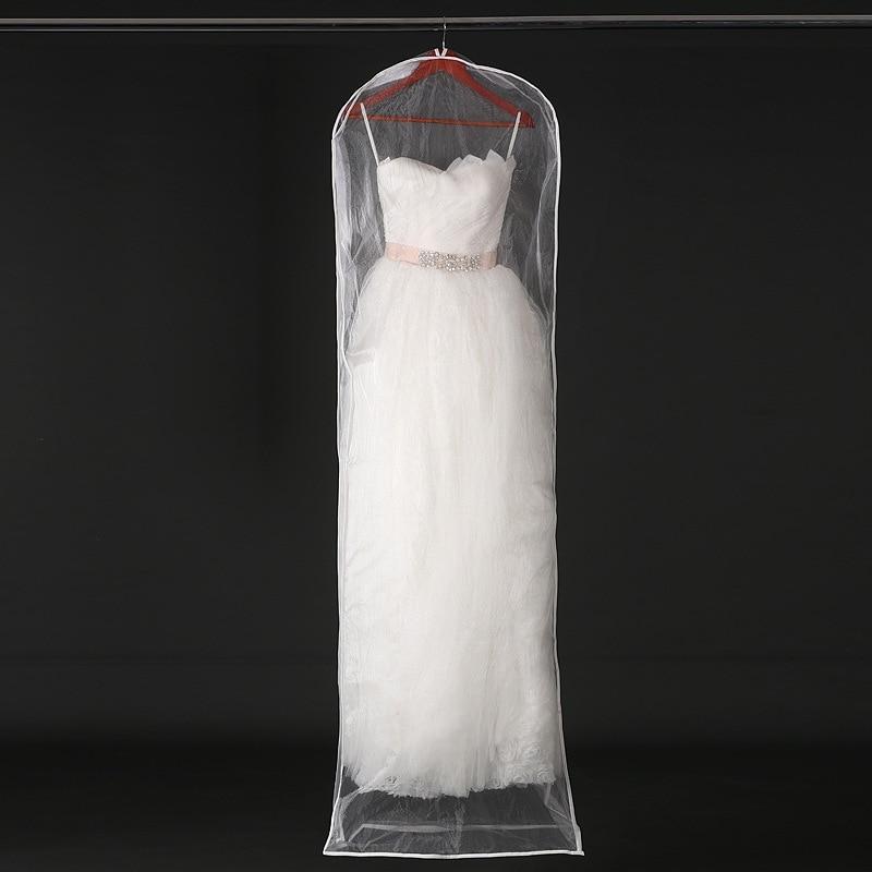 Transparent Mesh Yarn Wedding Dress Dust Cover With Zipper Bride Gown Storage Bag Garment Clothing Case 155cm 180cm JD005