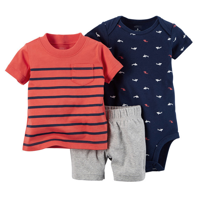 Baby Girl Boy Baby Summer Clothing 3PCS Set Baby Bodysuit+Stripe Tops +Solid Color Shorts Kids Clothes 2018 Hot Sales