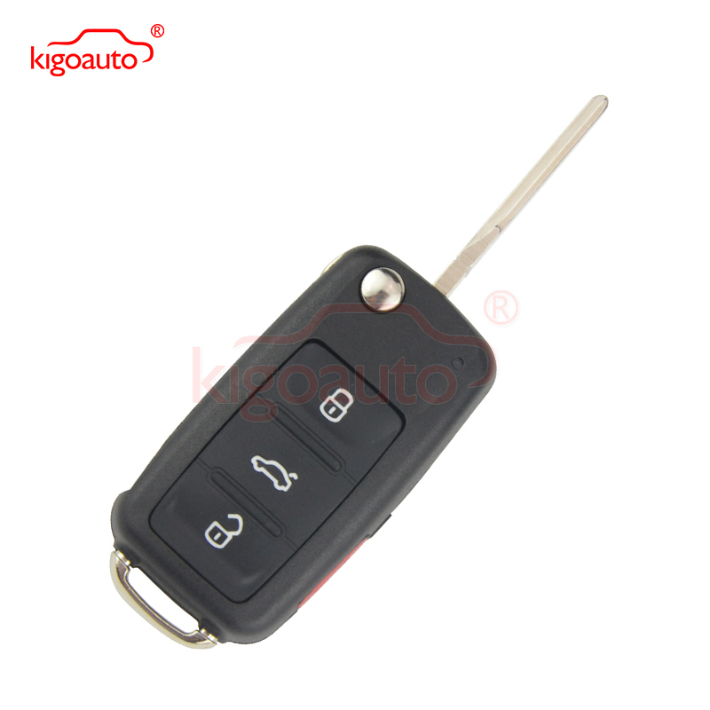 NBG010180T Remote key shell 3 button with panic for VW Beetle Passat Jetta 2014 Flip Key case Uncut Ignition Blade Blank