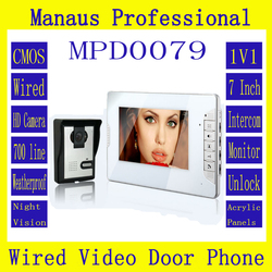 Smart Home 7 TFT Color Video door phone Doorbell & IR Night Vision Camera doorphone monitor Speakerphone intercom System D79a