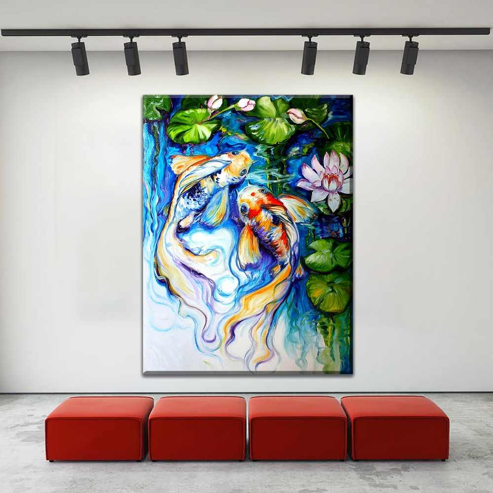 Wall Art Canvas Print Koi Fish Friend Oil Painting For Living Room Decorative Pictures1 Pieces Pond Lotus Poster Modern Artwork
