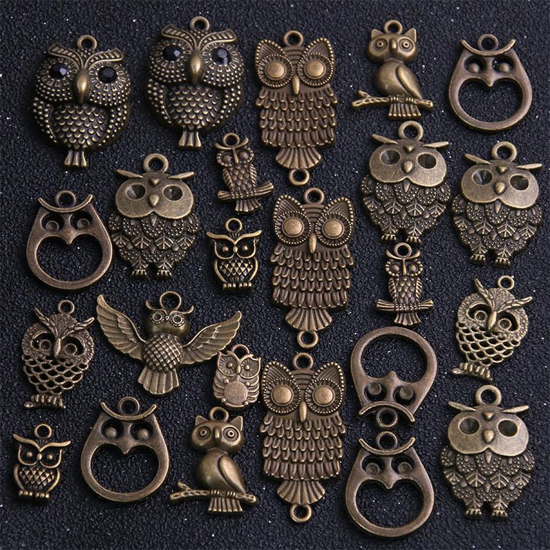 20pcs Vintage Metal Mixed Two color Random Owl Charms Animal Pendants For Jewelry Making Diy Handmade Jewelry 4