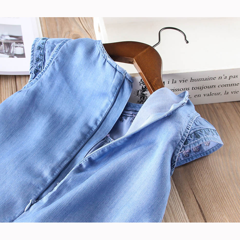Hurave fly sleeve denim sweet baby solid Girl clothes Summer dress Kids Clothes Casual embroidery princess cotton dresses