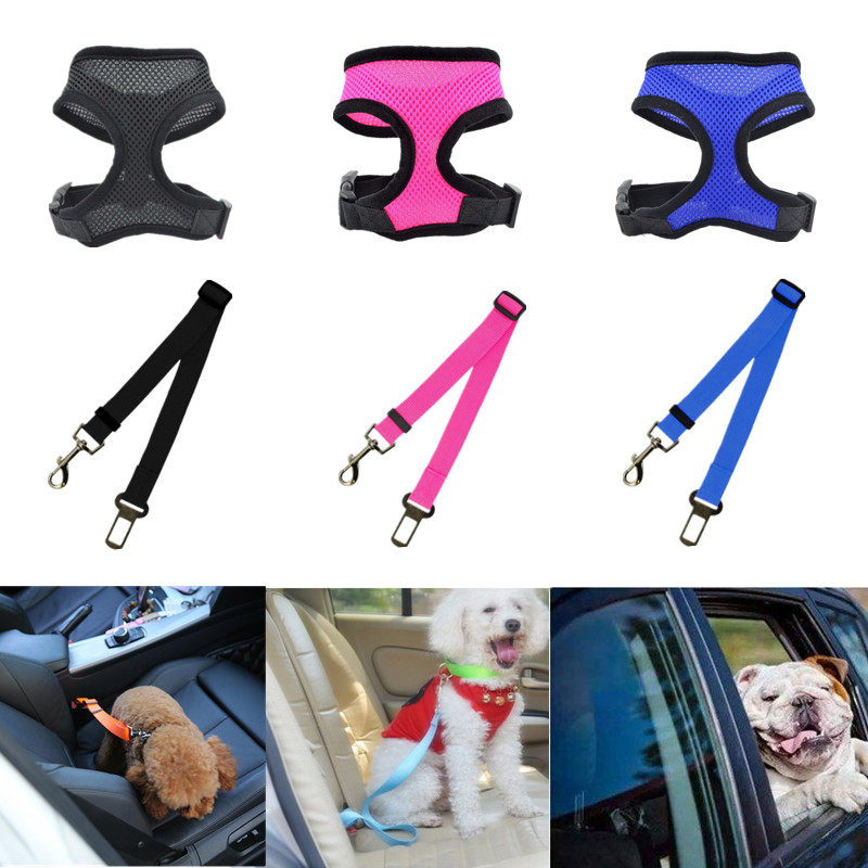 1pc Dog Car Seat Belt Auto Pet Safety Belt Vehicle Puppy Cat Life Belt For Harness Collar Set Free Hand Leash Adjustable