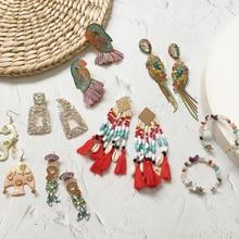 Ztech Multicolor Rhinestone Resins Beads Tassel Crystal Long Earrings 2019 Trendy For Women Jewelry Accessory Christmas