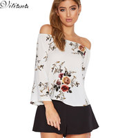 VITIANA Brand 2017 Women Summer Sexy Slash Neck T Shirt Flower Print Flare Sleeve Off Shoulder