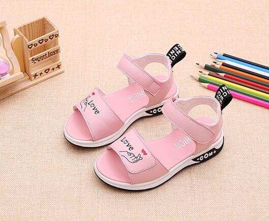 2018 Summer New Girl Sandals Casual Princess Shoes Cute Girl Sandals Non-slip Soft Bottom Breathable Sandals