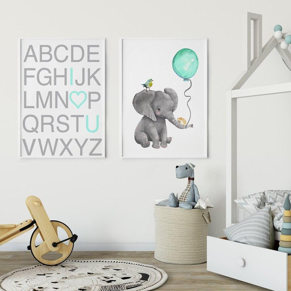 Nordic Elephant Bunny Posters Prints Geometric Animal Blue Alphabet Wall Art Nursery Room Modern