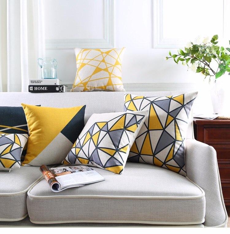 Yellow Geometric Decorative Cotton Linen Cushion Cover Grey Grid Printed Sofa  Throw Pillow Car Chair Home