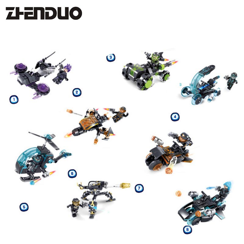 KAZI 6601#1-8 8IN1 X-Agents Microfighters Police Figures Building Blocks Set Levitated Thunder Chariot Model Bricks Kids Toys 8 in 1 military ship building blocks toys for boys