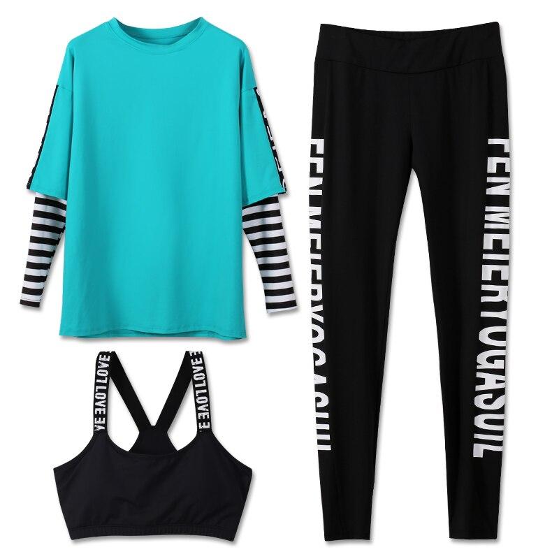 LYSEACIA Letters font b Sports b font Suit 3 IN1 Yoga Suit Women s Sportswear Shirt