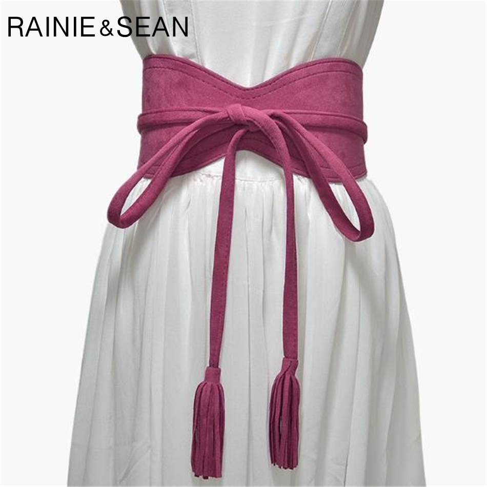 RAINIE SEAN Wide Ladies Belt For Dresses Leather Red Black Brown Self Tie Designer Female Faux Leather Cummerbunds For Women