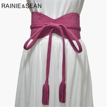 RAINIE SEAN Wide Ladies Belt For Dresses Leather Red Black Brown Self Tie Designer Female Faux Cummerbunds Women