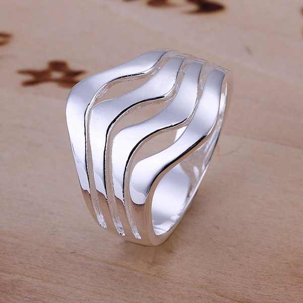 Leading fashion wholesale women lady wedding party Water ripples ring fashion silver color geometry ring classic models R123