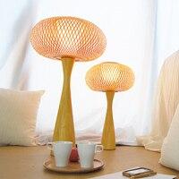 SGROW бамбука настольные лампы деревянное основание стол светильники с E27 лампы Lampara de mesa для Спальня столовая Гостиная