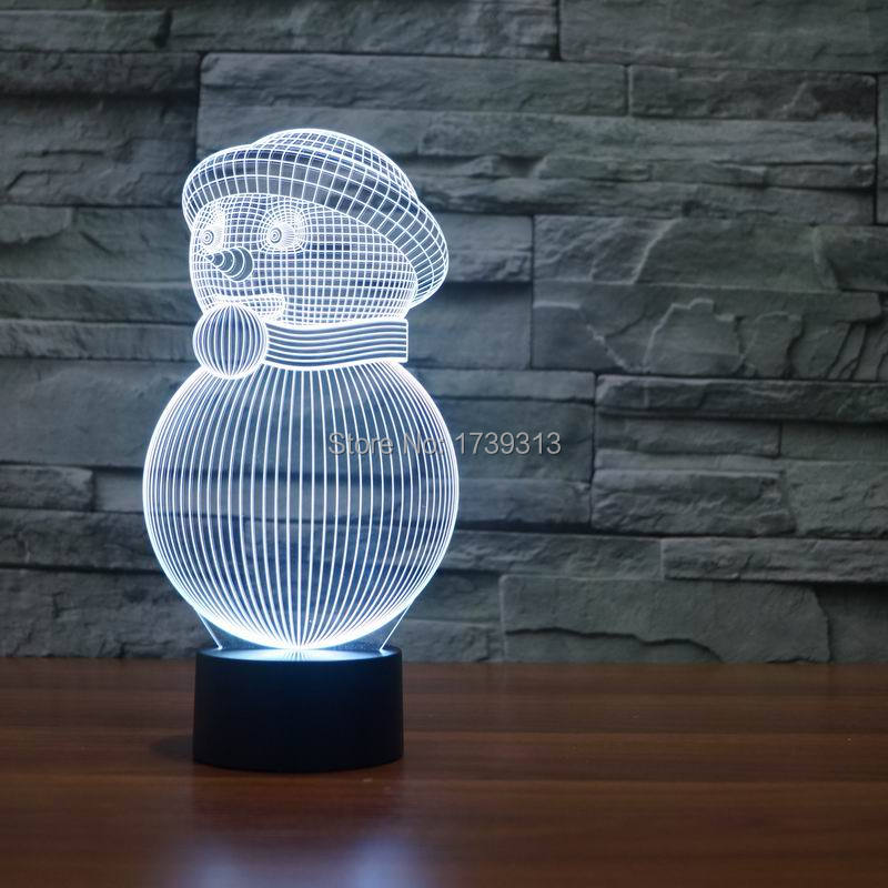 3D Cutely Snowman Night Lamp LED Bedroom Lamp with Romantic Childlike Atmosphere Lights as Chidren & Baby Gifts