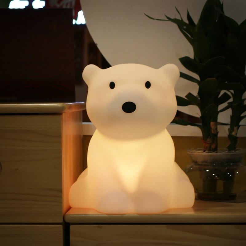 Polar Bear LED Night Light Swivel Dimmable Novel Gift for Kids Sleeping Warm White Baby Lamp Silicone Indoor Decoration Light - 2