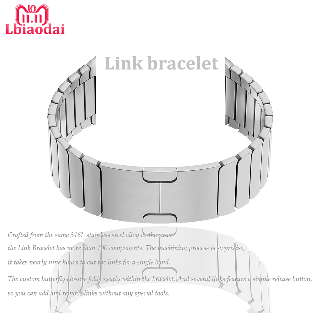 все цены на Stainless steel Link bracelet strap For correas Apple Watch band 42mm 38mm 44mm 40mm iwatch 4 3 2 1 watchband belt metal buckle