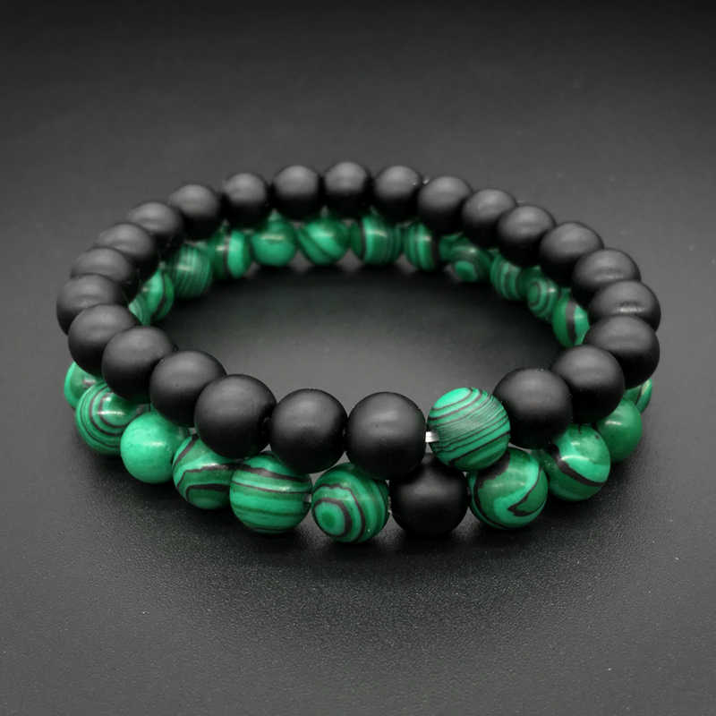 2pcs DIY Natural Stone Beads Bracelet Green Black Stone Healing Crystal Bracelet For Lover's