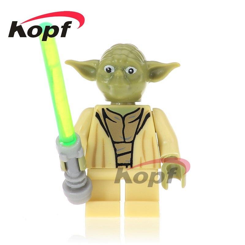 Single Sale Star Wars Yoda With Green Lightsaber The Force Awaken First Order Officer Building Blocks Children Gift Toys PG748