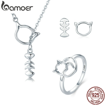 BAMOER 925 Sterling Silver Jewelry Set Naughty Little Cat Pussy Kitten Jewelry Sets Sterling Silver Jewelry Accessories ZHS041