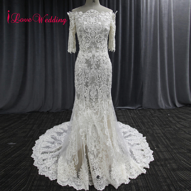 2018 Off The Shoulder Lace Wedding Dress Half Sleeve Mermaid Cut Bridal Party Dresses Vintage