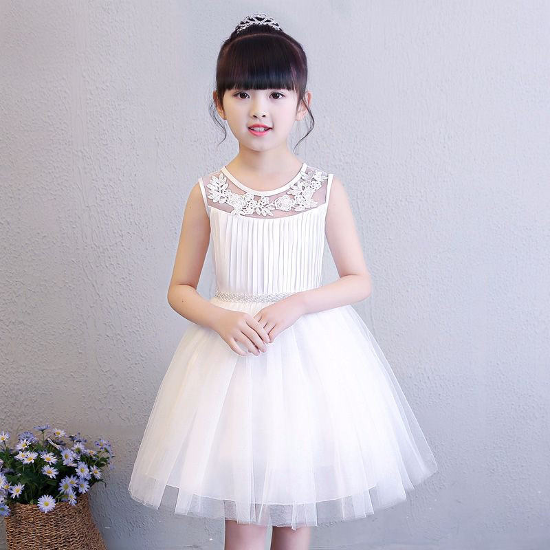 European Style Girl Mesh Dress Summer O-Neck Children Sleeveless Clothing Princess Solid Design 8 Years Girl Vest Clothes блендер bbk kbh1011