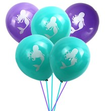 2 pc Pretty Mermaids Balloon Girl Boy Happy Birthday Party Latex Tiffany Purple Ballons Gender Reveal Baby Shower Hat Topper(China)