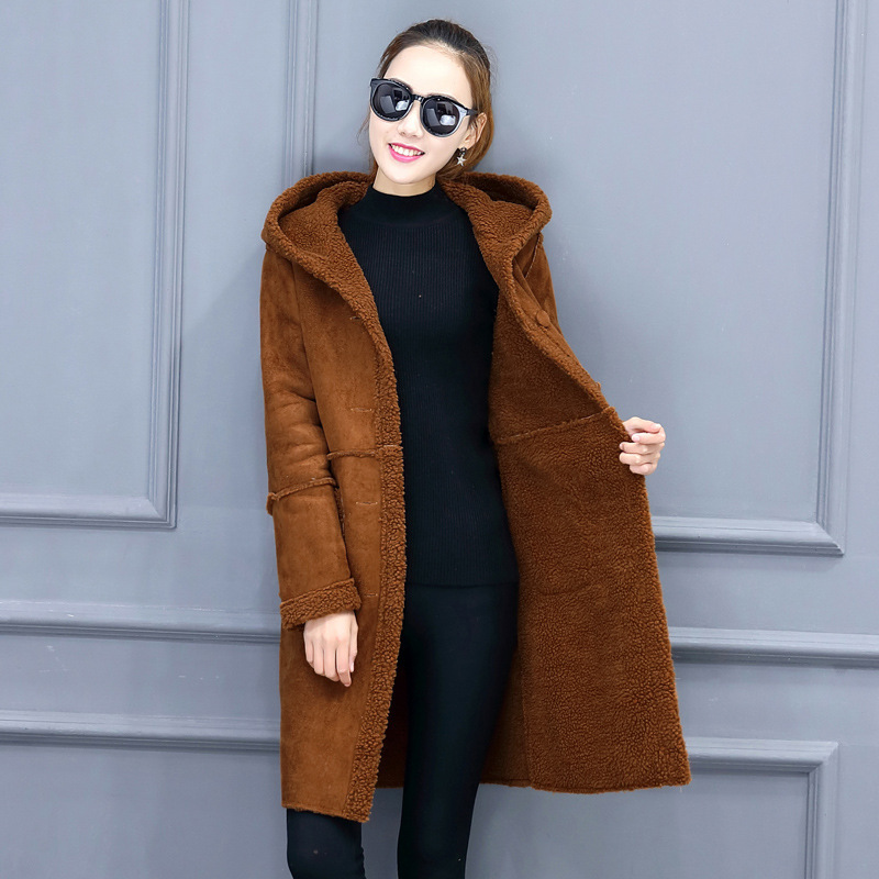 New Women's Thick Long Warm One PCS Wool Faux Fur Coat Jacket Parkas For Women,2 Colors,Size S-XXL,wl486 inc new beige women s size small s faux leather knit motorcycle jacket $99