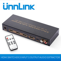 Unnlink HDMI Switch 3x1 Audio Extractor 4K@30Hz HDMI to RCA TOSLINK 3 In 1 Out 4K Switcher for ps4 tv mi box monitor computer