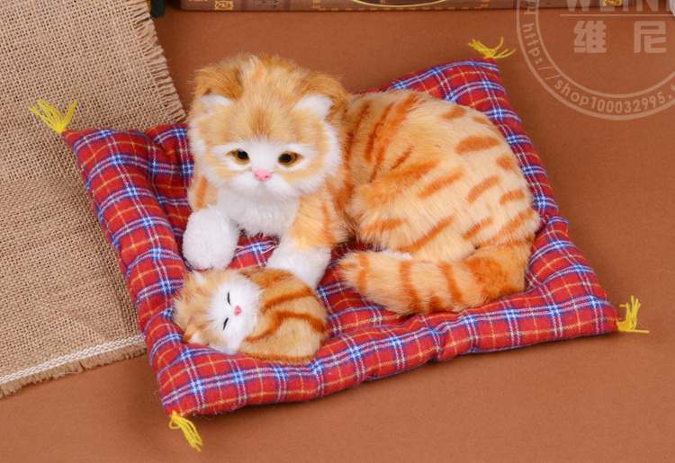 simulation yellow cat model ,25x12cm mother&child cats with mat ,plastic&furs sounds miaow toy handicraft, Xmas gift w5715