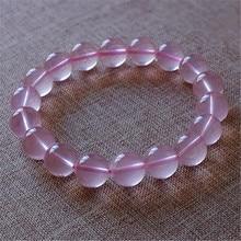 Genuine Star Light Rose Pink Quartz Natural Stone Bracelets For Women Female Stretch Crystal Round Bead Bracelet 12mm 13mm 14mm