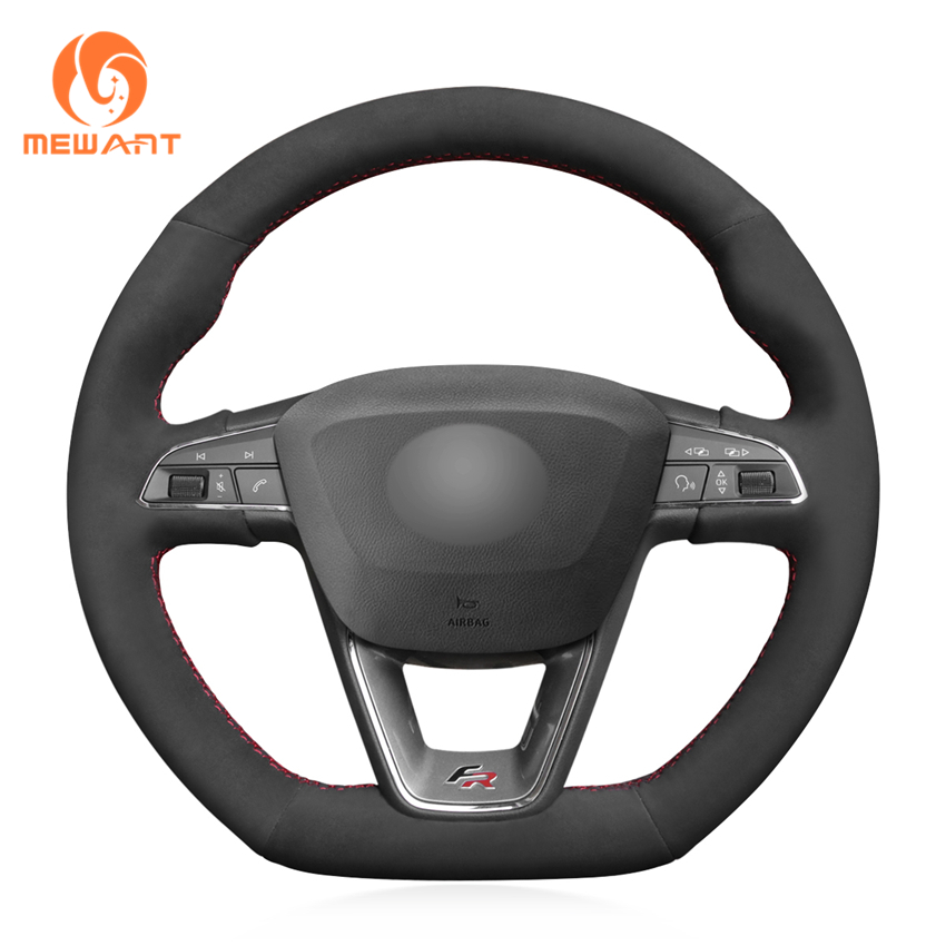 Black Suede Hand Sew Car Steering Wheel Cover for Seat Leon Cupra R 2013 2019 Ibiza