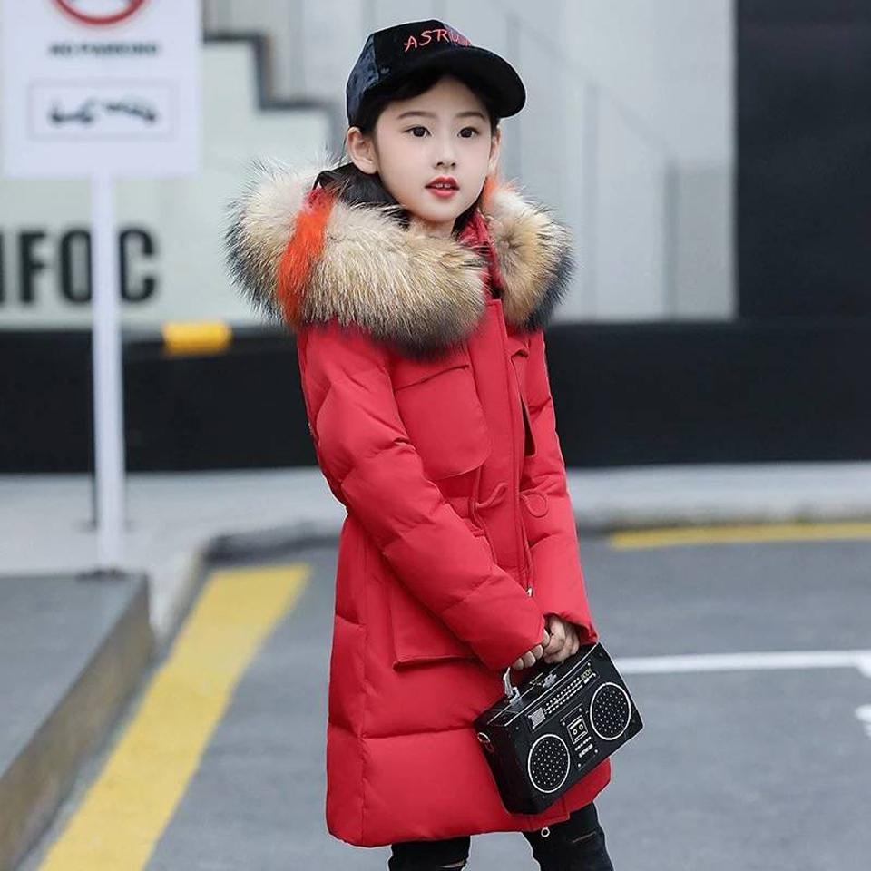 2018 Children Girls Down Jacket Girl Clothes Thicken Warm Winter Coat Teenage Long Jackets Parka Fur Hooded Clothing 6-14 Years 2016 new winter children clothing cute graffiti animals girl parka warm girls jackets