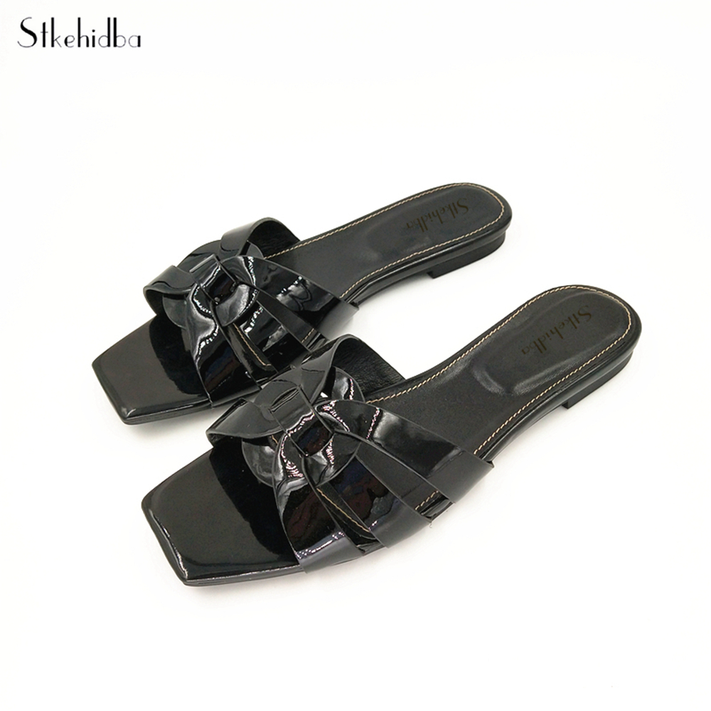 Stkehidba Designer Slide Sandals Genuine Cow Leather Women s Slippers 42Colors Hot Summer Women s Shoes