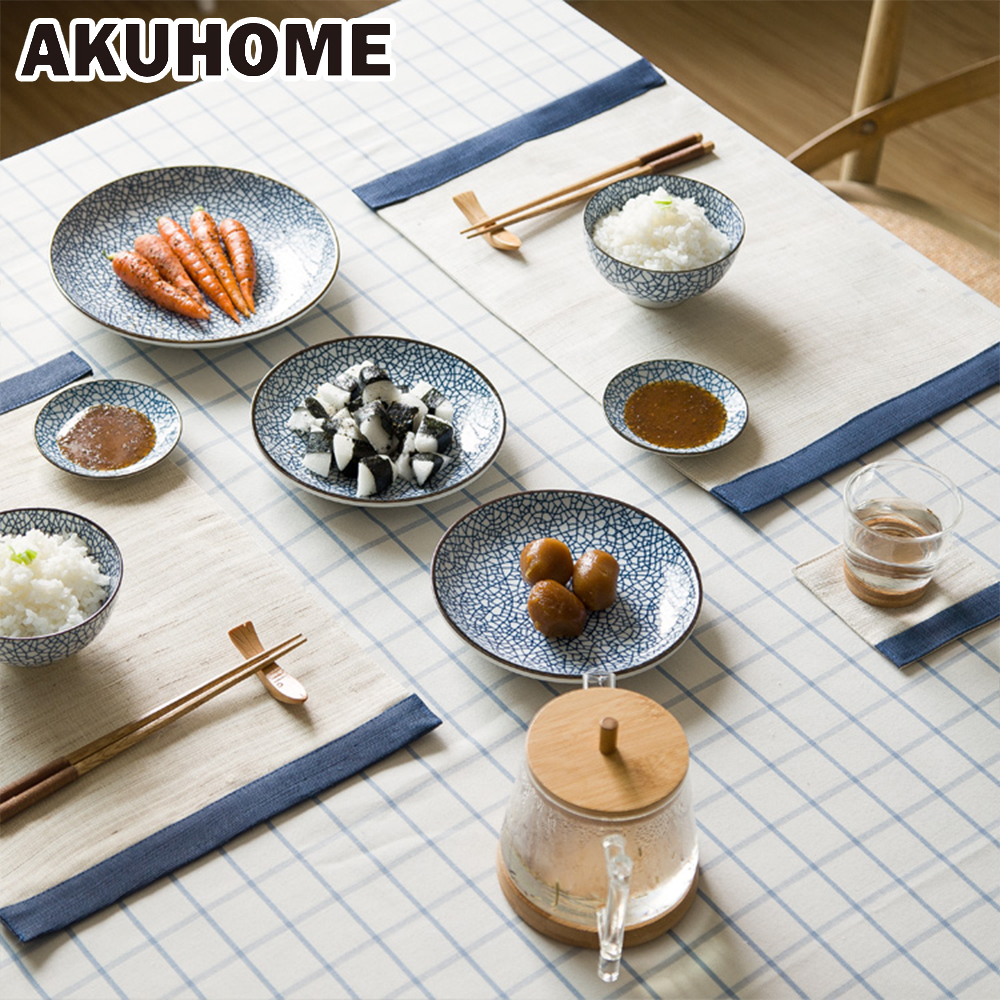 9 Pieces Ceramic Cutlery Sets Plate Japanese Style, Dish Bowl Fork Ceramic  Tableware For 2