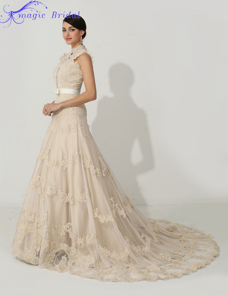 Popular lace champagne bridal wedding dress buy cheap lace elegant high neck champagne lace wedding dress a line country western wedding dresses bridal dresses robe ombrellifo Gallery