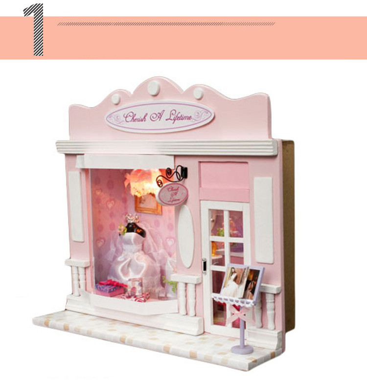Kids Wooden DIY House Puzzle Toys Doll House Furniture Kits Pink Wedding Shop Love Life Hut Stores Hand-assembled Model Toys (1)