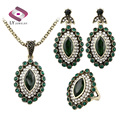 Fashion Vintage Turkey Jewelry Sets Gold Plated Austrian Green Crystal Necklace Earrings Ring