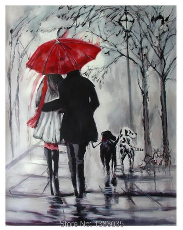 peint la main rainy rue paysage amoureux avec chiens peinture l 39 huile abstraite moderne noir. Black Bedroom Furniture Sets. Home Design Ideas