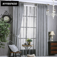 High Shading Modern Solid Color Chenille Cloth Blackout Gardin för Vardagsrum Bedroom Window Striped Tulle Home Decoration