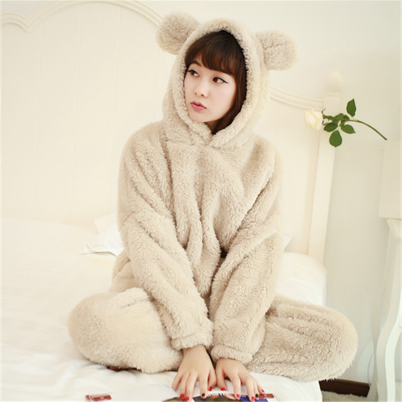 JINUO wholesale cheap winter super soft thick woman flannel   pajamas     sets   polar fleece home sleepwear female pyjamas with hooded