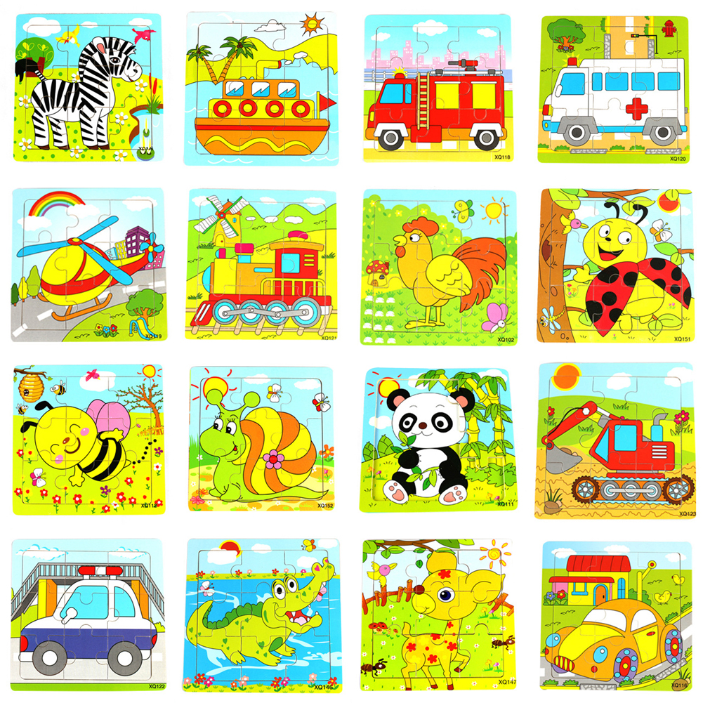 Modern Animals Puzzle Wooden Panda Jigsaw Toys for Children Kids Education and Learning Puzzles Toys Randomly Sent pilsan puzzle 4x4 animals