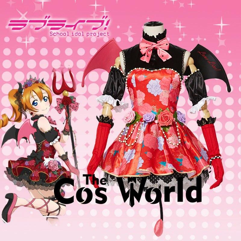 Love Live Kousaka Honoka Chauve-Souris Petit Diable Démon Fantaisie Tee Robe Uniforme Outfit Anime Cosplay Costumes