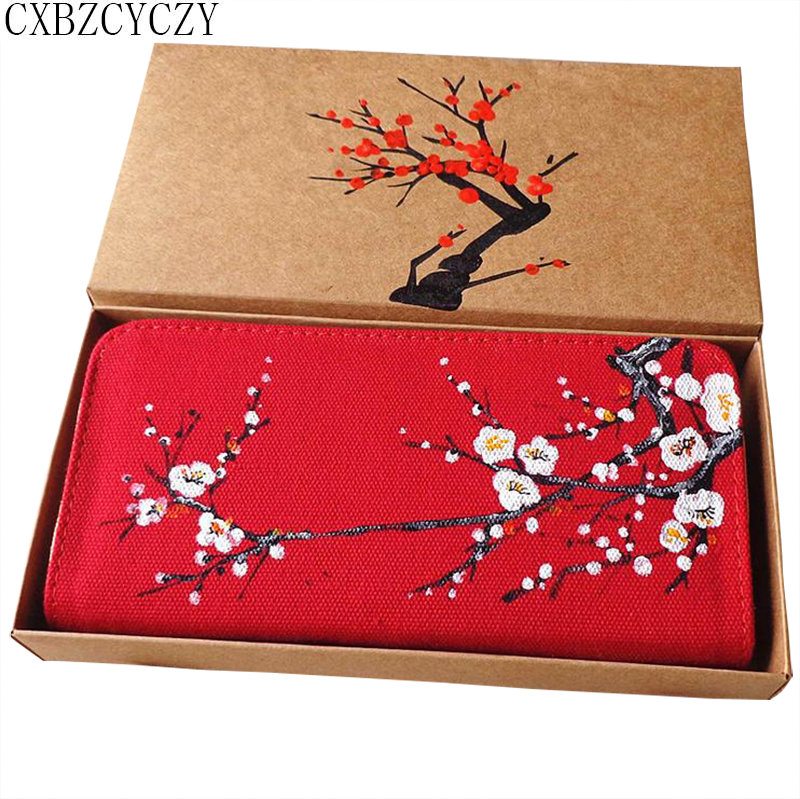 Women Wallets Brand Design High Quality Cell phone Card Holder Long Lady Wallet Purse Clutch Hand-painted Plum Blossoms With Box high quality floral wallet women long design lady hasp clutch wallet genuine leather female card holder wallets coin purse