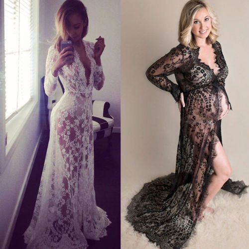 Spring Summer Lace Maxi Maternity Dress Pregnant Photography Photo Props Fancy Women Maternity Clothing Dresses Black White S Xl Super Discount 6a247e Cicig