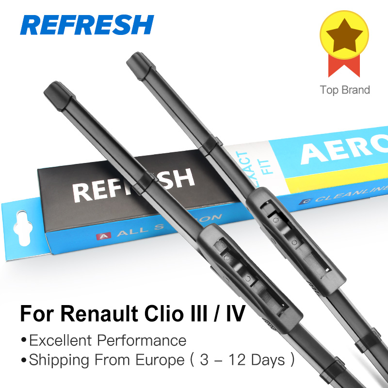 REFRESH Wiper Blades for Renault Clio III / IV Bayonet Arms 2005 2006 2007 2008 2009 2010 2011 2012 2013 2014 2015 2016 2017